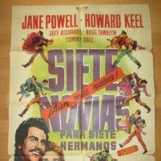 Cine: CARTEL CINE, SIETE NOVIAS PARA SIETE HERMANOS, JANE POWELL, HOWARD KEEL, 1963, C1473. Lote 139305214