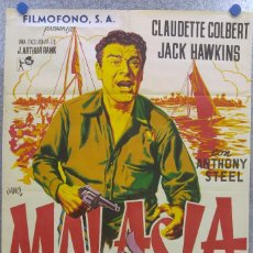 Cine: MALASIA JACK HAWKINS CLAUDETTE COLBERT. LITOGRAFIA. Lote 139317230
