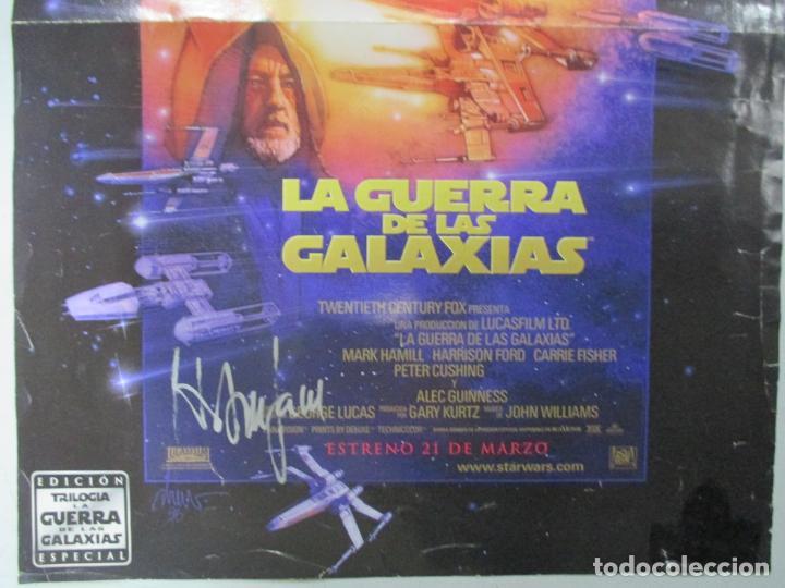 Cine: CARTEL DE CINE DE LA GUERRA DE LAS GALAXIAS FIRMADO POR HARRISON FORD. 39.5 X 28 CENTÍMETROS. - Foto 3 - 139942222