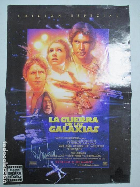 Cine: CARTEL DE CINE DE LA GUERRA DE LAS GALAXIAS FIRMADO POR HARRISON FORD. 39.5 X 28 CENTÍMETROS. - Foto 7 - 139942222