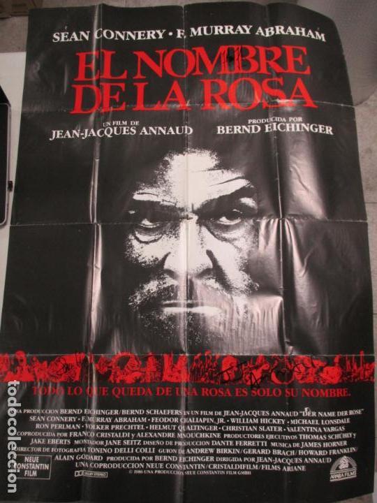 CARTEL EL NOMBRE DE LA ROSA. FIRMADO POR SEAN CONNERY, F. MURRAY Y JEAN JACQUES ANNAUD. 97 X 68 CM (Cine - Posters y Carteles - Suspense)