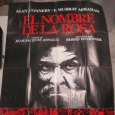 Cine: CARTEL EL NOMBRE DE LA ROSA. FIRMADO POR SEAN CONNERY, F. MURRAY Y JEAN JACQUES ANNAUD. 97 X 68 CM. Lote 139942674