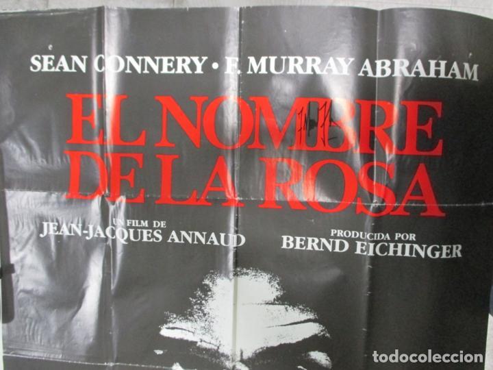 Cine: CARTEL EL NOMBRE DE LA ROSA. FIRMADO POR SEAN CONNERY, F. MURRAY Y JEAN JACQUES ANNAUD. 97 X 68 CM - Foto 2 - 139942674
