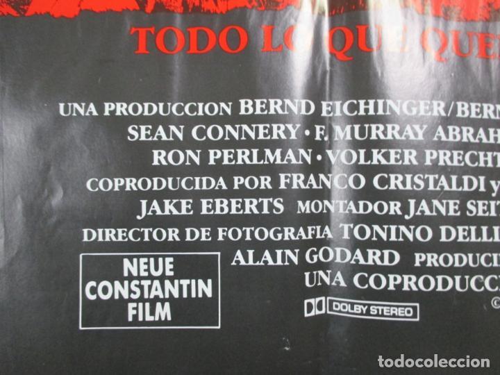 Cine: CARTEL EL NOMBRE DE LA ROSA. FIRMADO POR SEAN CONNERY, F. MURRAY Y JEAN JACQUES ANNAUD. 97 X 68 CM - Foto 5 - 139942674