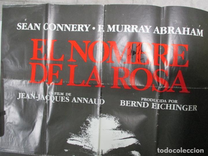 Cine: CARTEL EL NOMBRE DE LA ROSA. FIRMADO POR SEAN CONNERY, F. MURRAY Y JEAN JACQUES ANNAUD. 97 X 68 CM - Foto 7 - 139942674