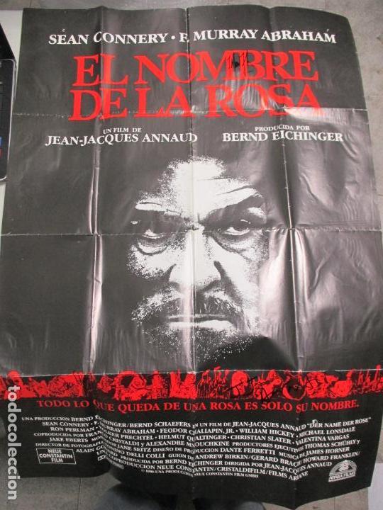 Cine: CARTEL EL NOMBRE DE LA ROSA. FIRMADO POR SEAN CONNERY, F. MURRAY Y JEAN JACQUES ANNAUD. 97 X 68 CM - Foto 9 - 139942674