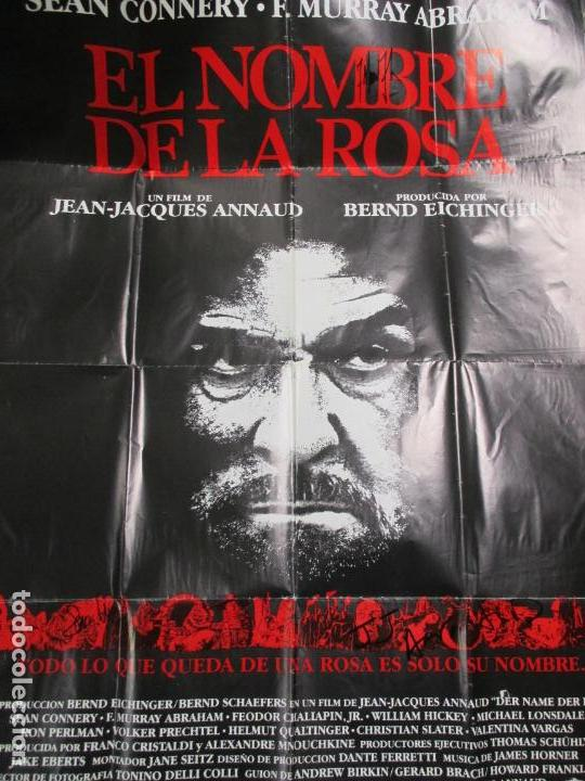 Cine: CARTEL EL NOMBRE DE LA ROSA. FIRMADO POR SEAN CONNERY, F. MURRAY Y JEAN JACQUES ANNAUD. 97 X 68 CM - Foto 15 - 139942674