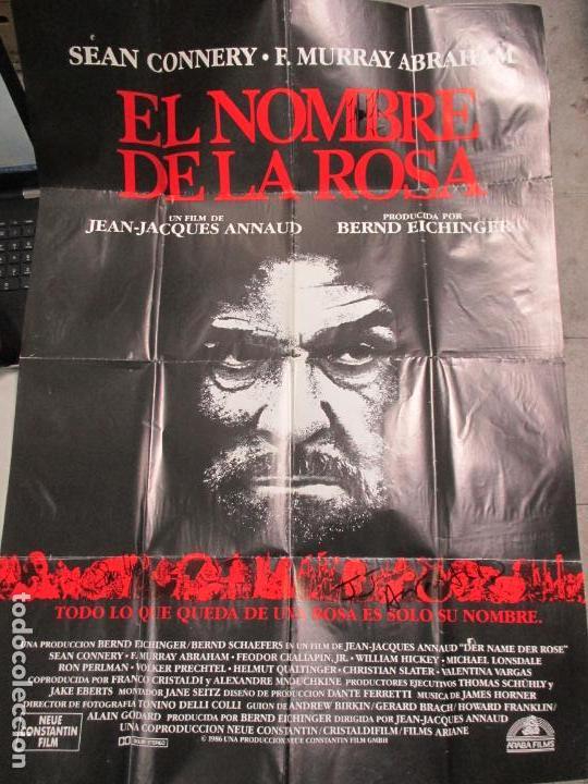 Cine: CARTEL EL NOMBRE DE LA ROSA. FIRMADO POR SEAN CONNERY, F. MURRAY Y JEAN JACQUES ANNAUD. 97 X 68 CM - Foto 16 - 139942674