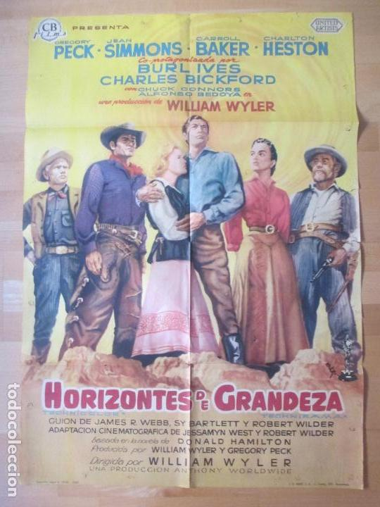 CARTEL CINE, HORIZONTES DE GRANDEZA, GREGORY PECK, CHARLTON HESTON, 1959, MCP, C1200 (Cine - Posters y Carteles - Westerns)