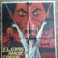 Cine: EL GRAN AMOR DEL CONDE DRACULA. CARTEL ESTRENO 70X100. PAUL NASCHY, ROSANNA YANNI. Lote 140012194