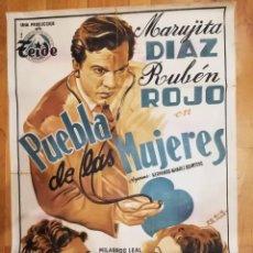 Cine: CARTEL DE CINE PUEBLA DE LAS MUJERES, MARUJITA DIAZ, RUBEN ROJO. ILUSTRA PERIS ARAGO. 1953.. Lote 140764112