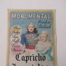 Cine: MARLENE DIETRICH, CARTEL DE CAPRICHO IMPERIAL, MONUMENTAL CINEMA (MADRID) AÑOS 50. Lote 140749270