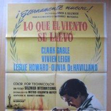 Cine: CARTEL CINE, LO QUE EL VIENTO SE LLEVO, CLARK GABLE, VIVIEN LEIGH, 1961, C1448. Lote 140819030