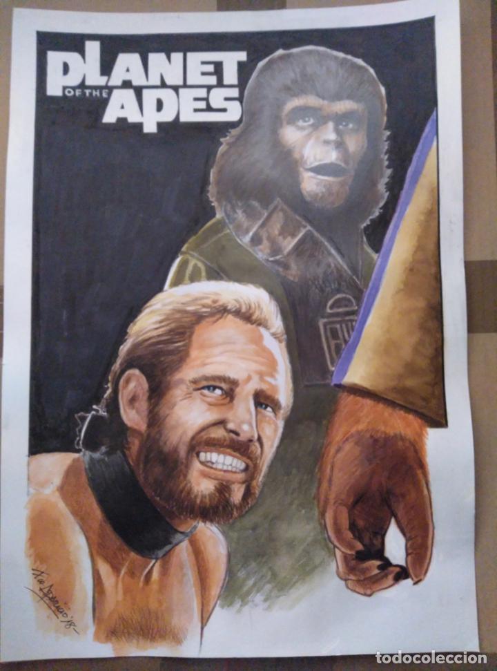 APES 1- ORIGINAL, FIRMADO. TECNICA MIXTA, 42X30CM. (Cine - Posters y Carteles - Ciencia Ficción)