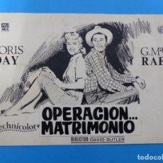 Cine: OPERACION MATRIMONIO, DORIS DAY, G. MAC RAE - ORIGINAL PINTADO A MANO POR MONTALBAN - AÑOS 1970. Lote 143189974