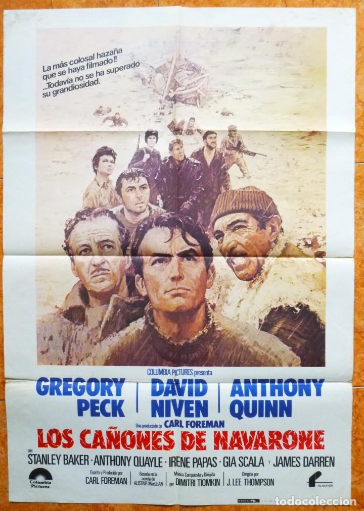 CARTEL DE CINE LOS CAÑONES DE NAVARONE REPOSICION DEL AÑO 1982 DAVID NIVEN GREGORY PECK (Cine - Posters y Carteles - Bélicas)