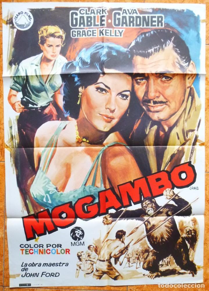 CARTEL DE CINE MOGAMBO REPOSICION DEL AÑO 1981 AVA GARDNER CLARK GABLE (Cine- Posters y Carteles - Drama)