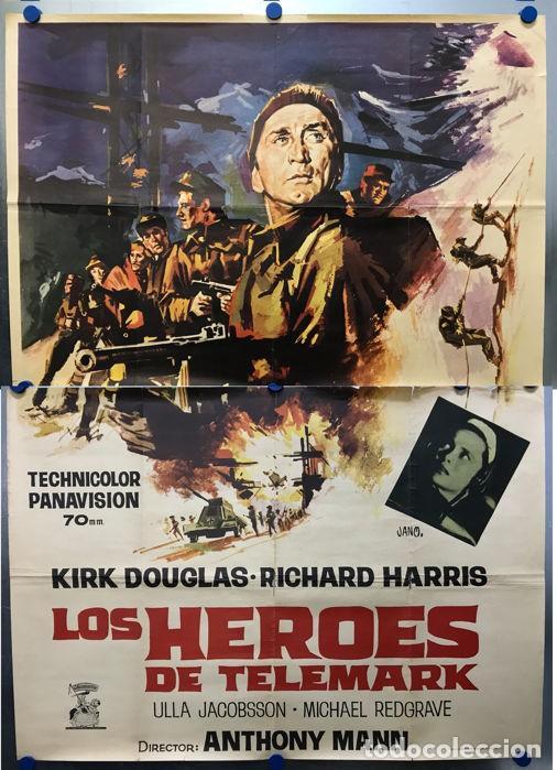 LOS HEROES DEL TELEMARK - KIRK DOUGLAS, RICHARD HARRIS - CARTEL GRANDE, AÑO 1966 (Cine - Posters y Carteles - Bélicas)