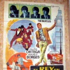 Cine: EL REY EN LONDRES PALITO ORTEGA THE BEATLES POSTER ORIGINAL,ESTRENO ESPAÑA AÑO 1966. Lote 143574918