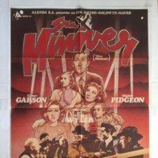 Cine: LA SEÑORA MINIVER - POSTER CARTEL ORIGINAL - GREER GARSON W PIDGEON WILLIAM WYLER 2ª GUERRA MUNDIAL. Lote 143740310