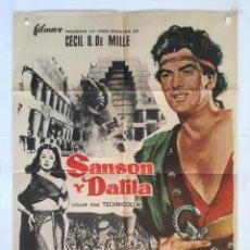 Cine: SANSON Y DALILA - POSTER CARTEL ORIGINAL - HEDY LAMARR VICTOR MATURE GEORGE SANDERS ANGELA LANSBURY. Lote 143814346