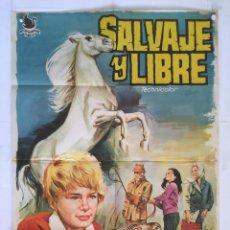 Cine: SALVAJE Y LIBRE - POSTER CARTEL ORIGINAL - JOHN MILLS SYLVIA SYMS MARK LESTER RUN WILD RUN FREE. Lote 143816070