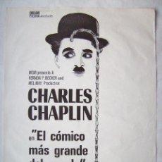 Cine: EL CÓMICO MAS GRANDE DEL MUNDO, CON CHARLES CHAPLIN. POSTER 70 X 100 CMS. 1977.. Lote 143899050