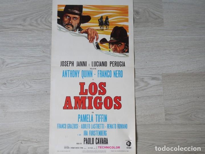CARTEL ITALIANO - LOS AMIGOS - FRANCO NERO - ANTONY QUINN - ORIGINAL 32 X 70 CM APROX (Cine - Posters y Carteles - Westerns)