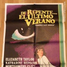 Cine: CARTEL ORIGINAL DE REPENTE EL ÚLTIMO VERANO.ELIZABETH TAYLOR KATHERINE HEPBURN MONTGOMERY CLIFT. Lote 145495301
