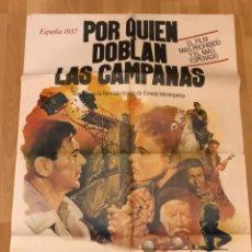 Cinéma: CARTEL ORIGINAL POSTER POR QUIEN DOBLAN LAS CAMPANAS.GARY COOPER INGRID BERGMAN.HEMINGWAY. Lote 145495890