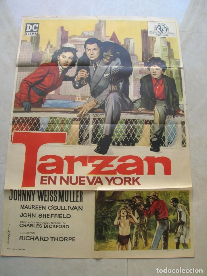 TARZAN EN NUEVA YORK.JOHNNY WEISSMÜLLER. CARTEL ORIGINAL.TAMAÑO: 100 X 70 CTMS. (Cine - Posters y Carteles - Aventura)