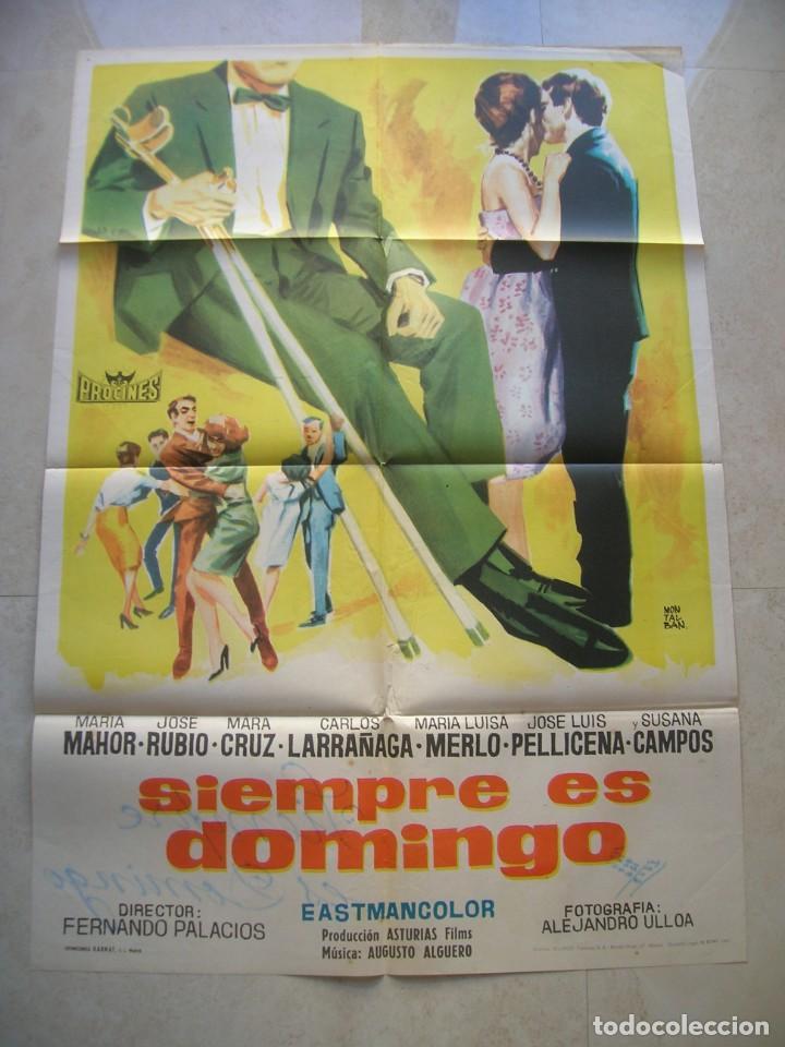 SIEMPRE ES DOMINGO. CARTEL DE CINE ORIGINAL.TAMAÑO: 99 X 69 CTMS. (Cine - Posters y Carteles - Clasico Español)