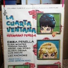 Cinema: LA CUARTA VENTANA EMMA PENELLA ELISA MONTES TERELE PAVEZ JULIO COLL POSTER ORIG 70X100 ESTR.1962. Lote 146398038