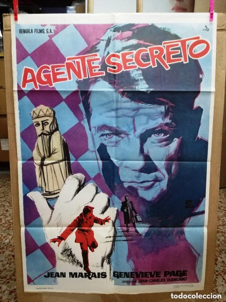 AGENTE SECRETO- JEAN MARAIS AJEDREZ POSTER ORIGINAL 70X100 DEL ESTRENO.1964 (Cine - Posters y Carteles - Acción)