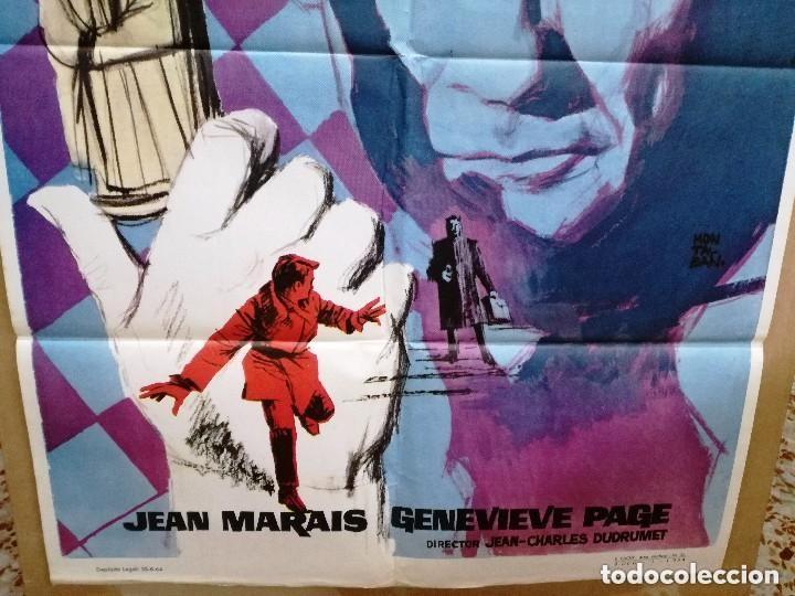 Cine: AGENTE SECRETO- JEAN MARAIS AJEDREZ POSTER ORIGINAL 70X100 DEL ESTRENO.1964 - Foto 2 - 146494386