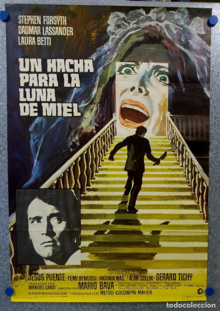 UN HACHA PARA LA LUNA DE MIEL. STEPHEN FORYSTH, DAGMAR LASSANDER, LAURA BETTY JESUS PUENTE. AÑO 1970 (Cine - Posters y Carteles - Terror)