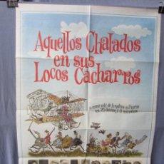 Cine: AQUELLOS CHALADOS EN SUS LOCOS CACHARROS - POSTER ORIGINAL CINE - 100 CM X 70 CM. Lote 147586442