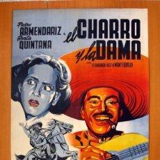 Cine: EL CHARRO Y LA DAMA - CARTEL TAMAÑO 98X68 - PEDRO ARMENDARIZ Y ROSITA QUINTANA. Lote 147902014