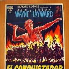 Cine: EL CONQUISTADOR DE MONGOLIA - CARTEL TAMAÑO 100X70 - JOHN WAYNE Y SUSAN HAYWARD. Lote 147911802