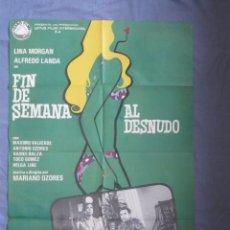 Cine: FIN DE SEMANA AL DESNUDO - PÓSTER ORIGINAL CINE - 100 CM X 70 CM. Lote 147991054