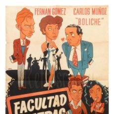 Cine: CARTEL POSTER ORIGINAL *FACULTAD DE LETRAS* FERNANDO FERNAN GOMEZ CARLOS MUÑOZ PIO BALLESTEROS JANO. Lote 149246670
