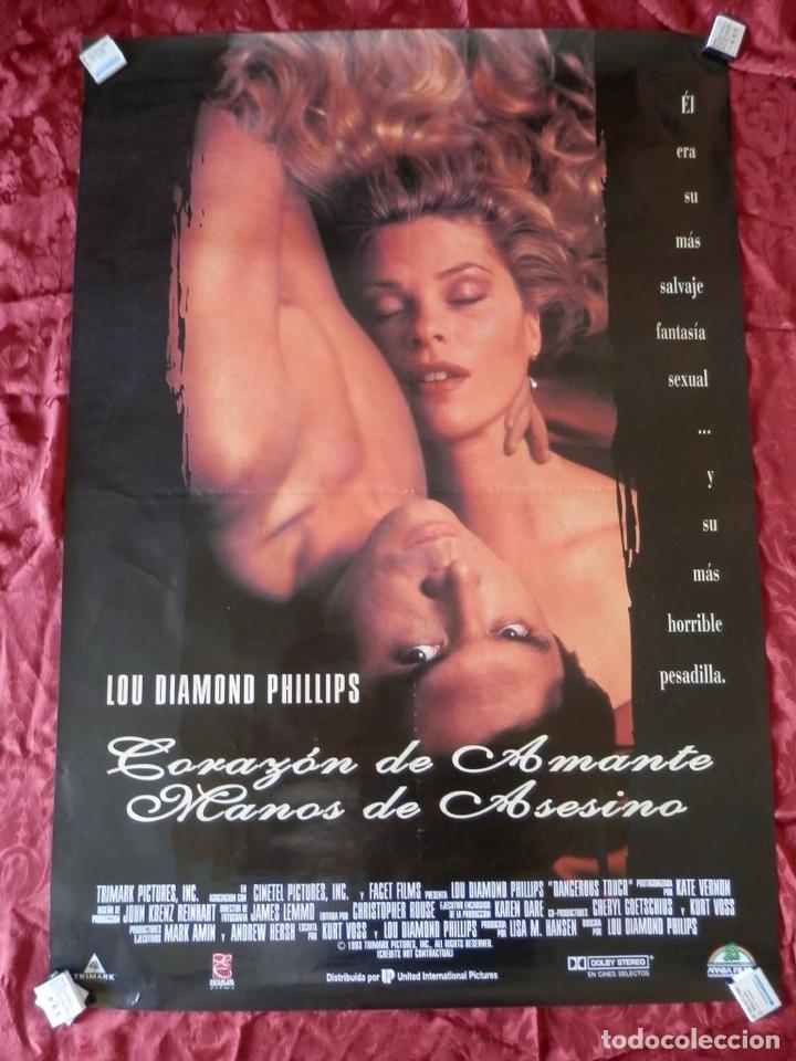 POSTER CARTEL ORIGINAL PELICULA: CORAZON DE AMANTE MANOS DE ASESINO LOU DIAMOND (Cine - Posters y Carteles - Terror)