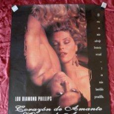 Cine: POSTER CARTEL ORIGINAL PELICULA: CORAZON DE AMANTE MANOS DE ASESINO LOU DIAMOND. Lote 149337892
