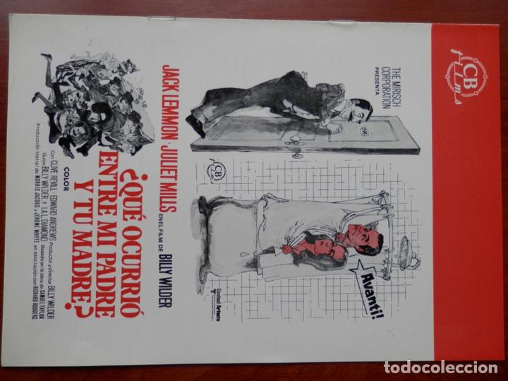 GUIA CINE CUATRO HOJAS: QUE OCURRIO ENTRE MI PADRE Y TU MADRE JACK LEMMON (Cine - Posters y Carteles - Bélicas)