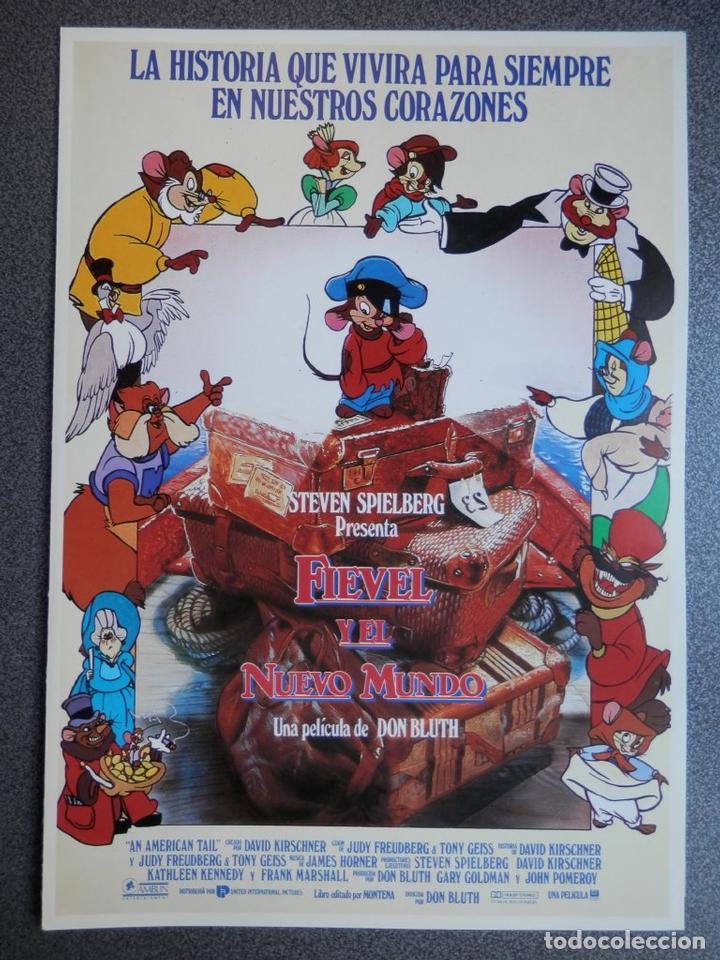 GUIA DE CINE 2 HOJAS: FIEVEL Y EL NUEVO MUNDO - STEVEN SPIELBERG (Cine - Posters y Carteles - Musicales)