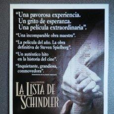 Cine: GUIA DE CINE 2 HOJAS: LA LISTA DE SCHINDLER - STEVEN SPIELBERG. Lote 149494786