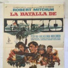 Cine: LA BATALLA DE ANZIO - POSTER CARTEL ORIGINAL ROBERT MITCHUM PETER FALK ROBERT RYAN 2ª GUERRA MUNDIAL. Lote 150074642