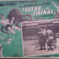 Cine: TARZAN Y LAS SIRENAS. 1948. JOHNNY WEISSMULLER. CARTULINA/LOBBY CARD DE MEXICO. 31 X 41 CM.. Lote 150365022