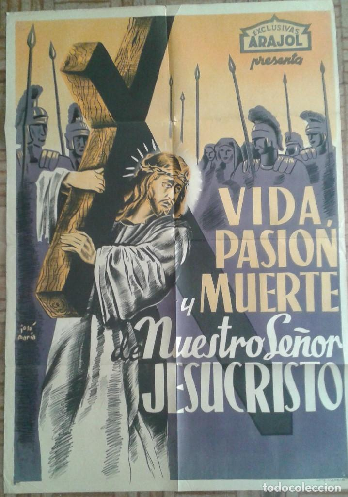 VIDA, PASIÓN Y MUERTE DE NUESTRO SEÑOR JESUCRISTO. LITOGRAFÍA (Cine- Posters y Carteles - Drama)