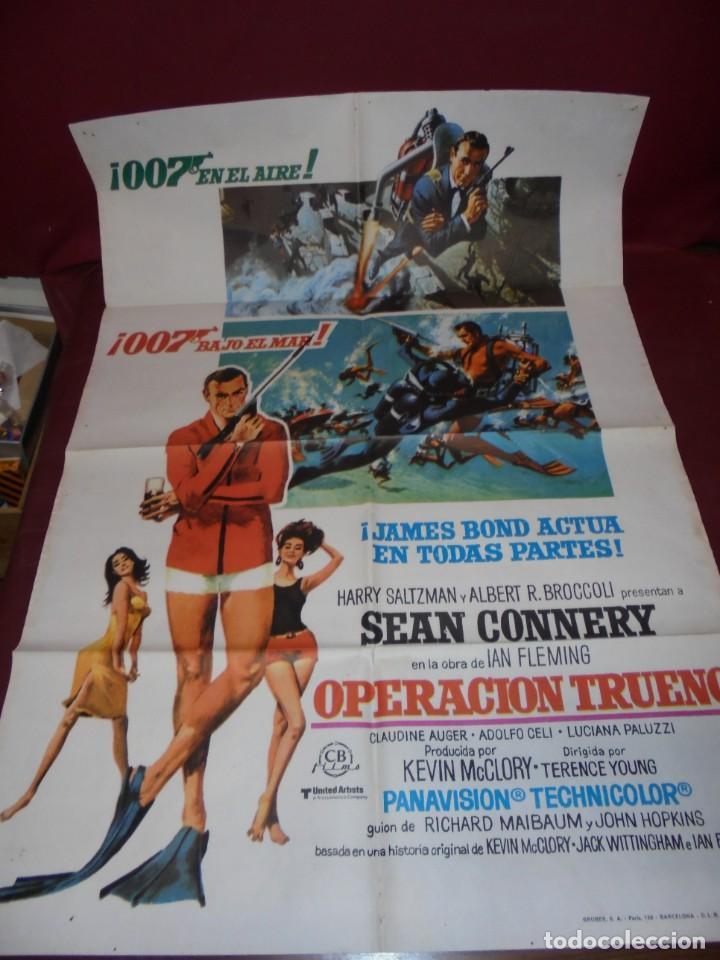 MAGNIFICO CARTEL DE CINE ORIGINAL DE EPOCA,007 OPERACION TRUENO (Cinema - Film Posters - Action)